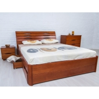 """Кровать Олимп """"Марита LUX"""" на ламелях, полностью массив бука, с ящиками"""