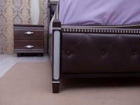 Кровать Олимп Прованс с патиной и фрезеровкой мягкая спинка ромбы под/рама