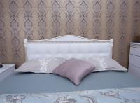 Кровать Олимп Прованс с патиной и фрезеровкой мягкая спинка квадраты