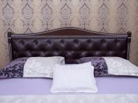 Кровать Олимп Прованс с патиной и фрезеровкой мягкая спинка ромбы