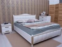 Кровать Олимп Прованс с патиной и фрезеровкой мягкая спинка квадраты под/рама